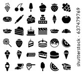 dessert icons set. set of 36... | Shutterstock .eps vector #637479769