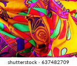 colors pattern of fabric | Shutterstock . vector #637482709