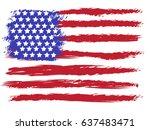 vector american grunge flag.... | Shutterstock .eps vector #637483471
