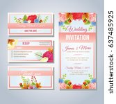 pink floral wedding invitation... | Shutterstock .eps vector #637485925