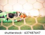 goalkeeper catching a ball | Shutterstock . vector #637487647
