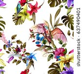 seamless pattern of humming... | Shutterstock .eps vector #637490401
