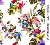 seamless pattern of humming... | Shutterstock .eps vector #637490401