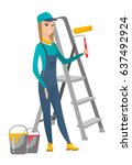 young caucasian house painter... | Shutterstock .eps vector #637492924