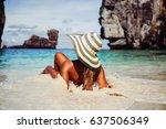 summer lifestyle portrait of... | Shutterstock . vector #637506349