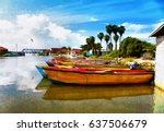 jamaica. national boats on the... | Shutterstock . vector #637506679