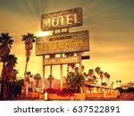 roadside motel sign   iconic... | Shutterstock . vector #637522891