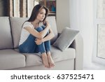 young pretty lonely sad girl... | Shutterstock . vector #637525471