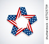 star made of double ribbon with ... | Shutterstock .eps vector #637525759