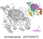 beautiful little mermaid girl... | Shutterstock .eps vector #637544371