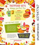 fast food vector poster with... | Shutterstock .eps vector #637547767