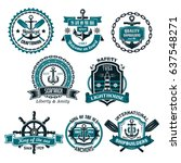 nautical icons and symbols set. ... | Shutterstock .eps vector #637548271