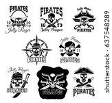 pirate skull with crossbones... | Shutterstock .eps vector #637548289