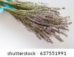 dried bunches of lavender on a... | Shutterstock . vector #637551991