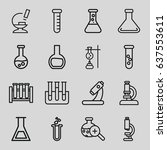 set of 16 lab outline icons... | Shutterstock .eps vector #637553611