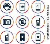 set of 9 telephone filled icons ... | Shutterstock .eps vector #637555261