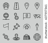 map icons set. set of 16 map... | Shutterstock .eps vector #637557361