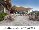 mountain hotel cafe terrace | Shutterstock . vector #637567939
