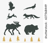 hand drawn forest silhouettes... | Shutterstock .eps vector #637568449
