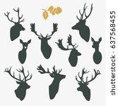 deer silhouette busts set | Shutterstock .eps vector #637568455
