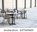 outdoor seats chairs and tables ... | Shutterstock . vector #637569604