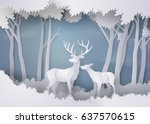 deers in the forest.paper art... | Shutterstock .eps vector #637570615