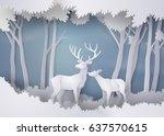 deers in the forest.paper art... | Shutterstock .eps vector #637570615