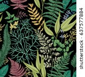 spring leafy green seamless... | Shutterstock .eps vector #637577884