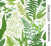 spring leafy green seamless... | Shutterstock .eps vector #637578001