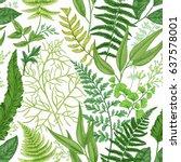 spring leafy green seamless... | Shutterstock .eps vector #637578001