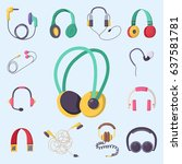 headphones vector set music... | Shutterstock .eps vector #637581781
