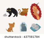 cute cats character different... | Shutterstock .eps vector #637581784