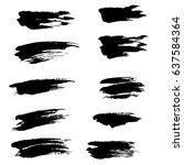 ink vector brush strokes set.... | Shutterstock .eps vector #637584364