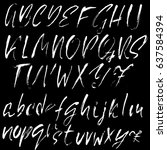 hand drawn dry brush font.... | Shutterstock .eps vector #637584394