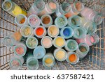 small jars of brightly colored... | Shutterstock . vector #637587421