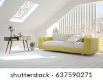 white modern room with sofa.... | Shutterstock . vector #637590271