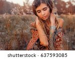 close up of beautiful young...   Shutterstock . vector #637593085