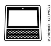 white smart speaker personal... | Shutterstock .eps vector #637595731
