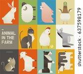 farm animals collection vector... | Shutterstock .eps vector #637598179