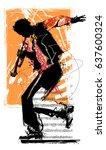 jazz trumpet player   vector... | Shutterstock .eps vector #637600324