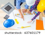 group of architects working on... | Shutterstock . vector #637601179