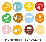 set of food labels   allergens  ... | Shutterstock .eps vector #637602241