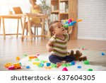 vietnamese baby boy playing... | Shutterstock . vector #637604305