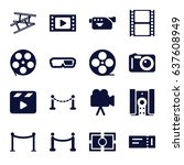 cinema icons set. set of 16... | Shutterstock .eps vector #637608949