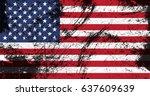 grunge usa flag.vintage... | Shutterstock .eps vector #637609639