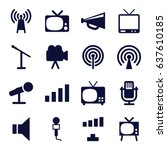 broadcast icons set. set of 16... | Shutterstock .eps vector #637610185