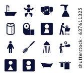 toilet icons set. set of 16... | Shutterstock .eps vector #637611325