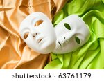 Small photo of Theatre concept with the white plastic masks