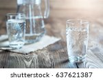 glass of water on a wooden... | Shutterstock . vector #637621387
