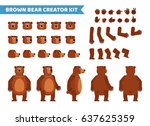 brown bear creation set.... | Shutterstock .eps vector #637625359